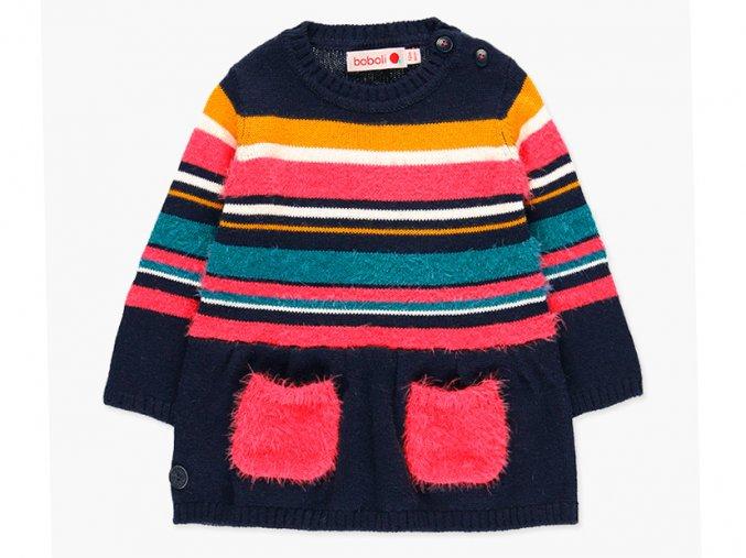 Dívčí pletené šaty růžove tmavě modré pruhované Boboli