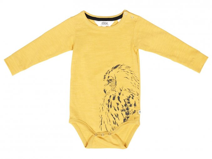 Kojenecké body kreslená Sova sovička žluté ORGANIC bio bavlna Skandináv 101832 0608 f