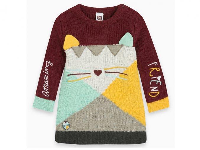 Dívčí pletené šaty Kočička barevné11290297