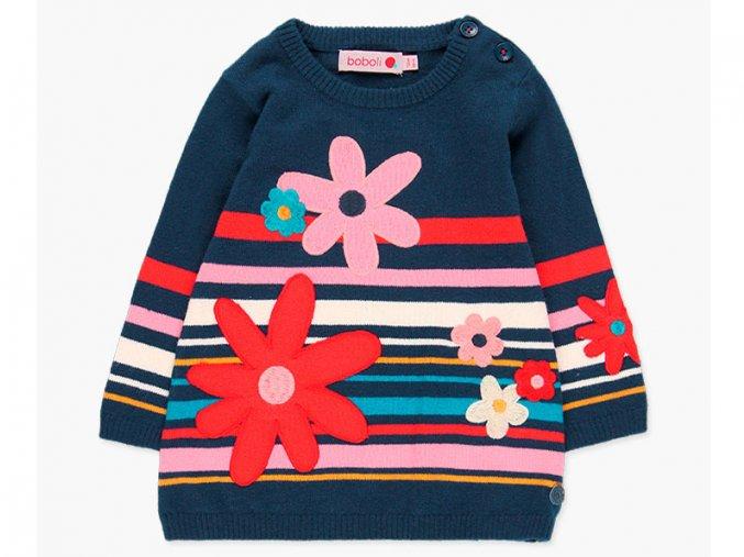 Dívčí pletené šaty barevné tmavě modré s proužky a nášivky květů Boboli pletený svetr holka a