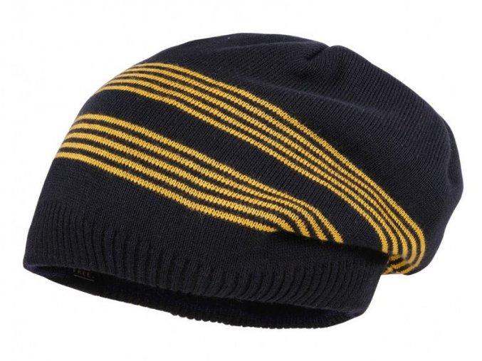 Chlapecká čepice oboustraná Hvězdy a pruhy tmavě modrá hořčice pruhovaná čepice
