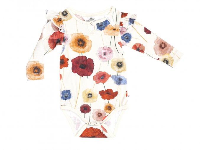Kojenecké body s květy organic Skandinávské vlčí mák bílé s barevnými květy body pro holčičku 101824 0606 f