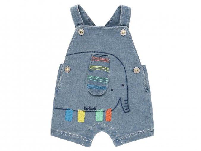 Kojenecké šortky s laclem modré hravé kraťásky slůně denim 132163BLEACH a