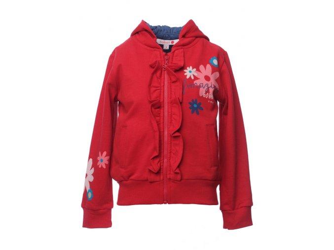 červená dívčí mikina Boboli odepínaci kapuce volánky Květy