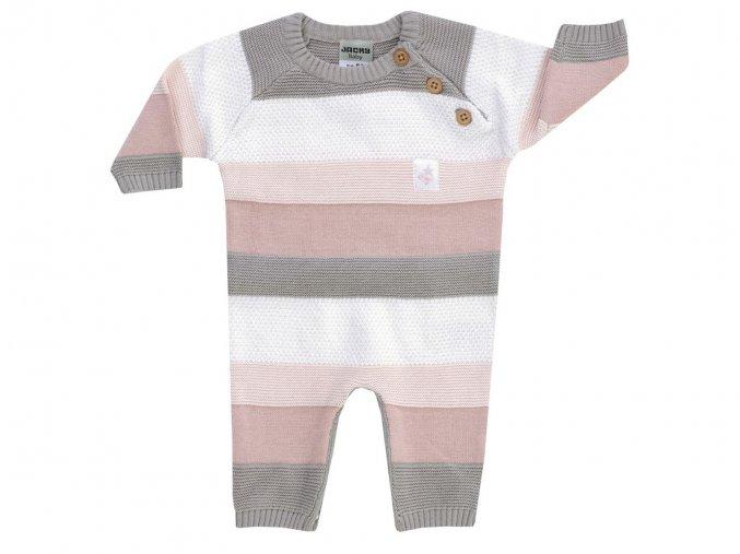 Kojenecky prizovy ove ral pro holčičku růžový pletený pruhovaný Jacky 3229090 0 2191