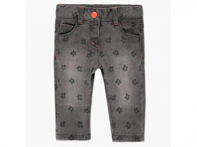 Dívčí strečové kalhoty džíny šedé kytičky oranžové Boboli 228158GREY a