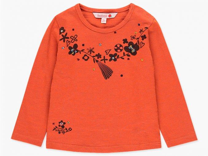 Dívčí tričko oranžové dlouhý rukáv flitr květy clay