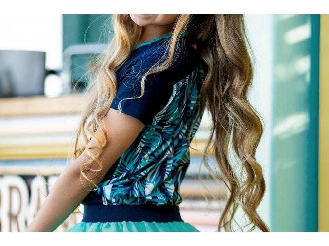 Holčičí tričko tmavě modré Tropical letní top holka tyrkys BNOSY Y102 5433 146 3