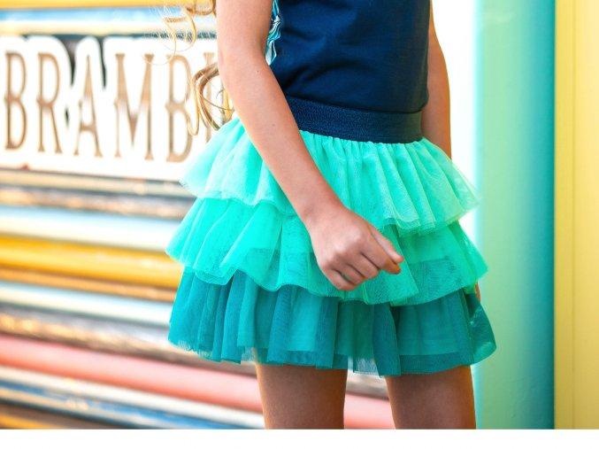 Holčičí sukně tyrkysová s volánky tylová sukně stupňovitá holka BNOSY Y102 5732 324 2