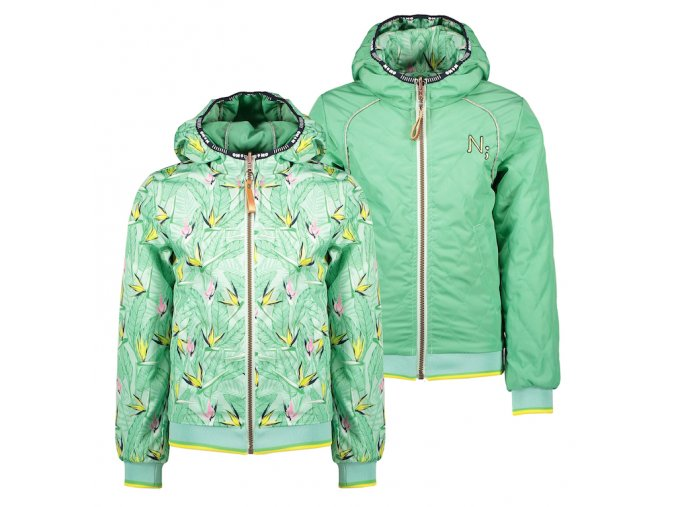 Dívčí bunda jaro oboustranná zelená květy holka Holand N102 5200 317 copy