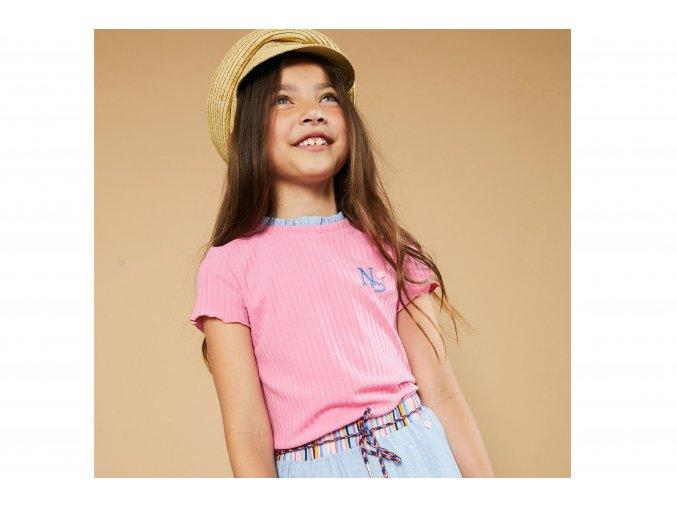 Dívčí tričko růžové žebrové s krátkým rukávem volánky holka NONO N102 5406 234 2