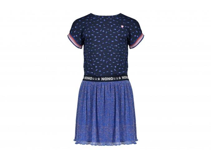 Dívčí kombinované šaty modré třpytivá sukně skládaná na létoHoland NONO holka N102 5807 125