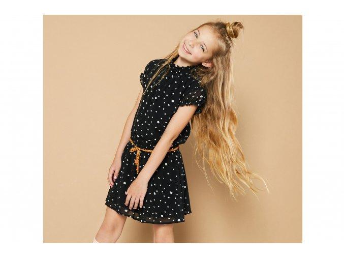 Dívčí černé šaty s puntíky krátký rukáv lehké šaty na léto NONO Holand holka N102 5811 017 2