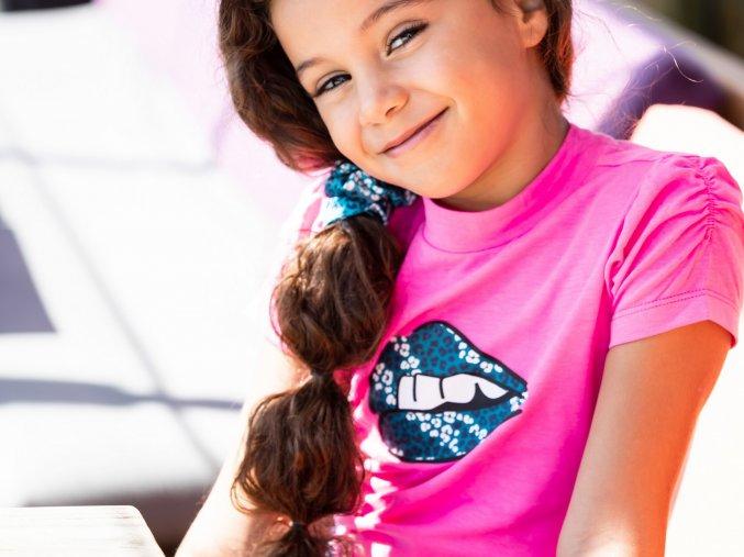 Dívčí tričko svítivě růžové krátký rukáv balónkový KISS Holand BNOSY holka Y102 5414 270 3