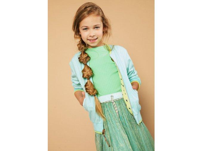 Dívčí bunda jaro léto oboustranná zelený žlutý bomber na zip NONO Holand holka šaty zelené třpytky kombinované N103 5303 502 5
