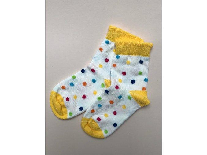 Dívčí bílé ponožky s putníky barevné žluté holka 03236329 38 b