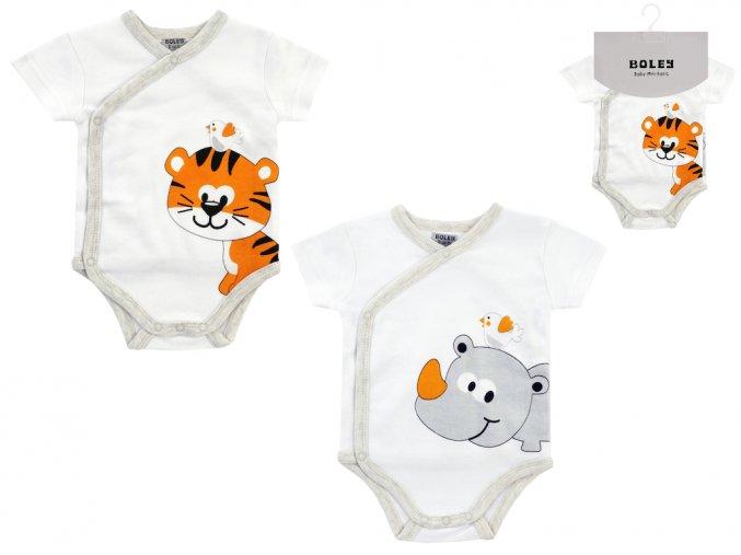 Kojenecké body krátké léto bílé se zvířátky tygřík 2v1 Boley 6151102 0 9960