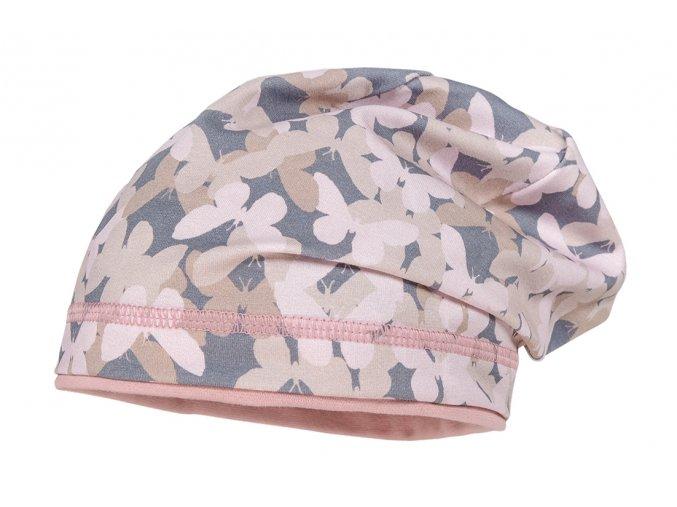 Dívčí čepice růžová motýlek tenká UV filter 50 jarní letní čepice beanie skřítek holka Maximo 13500 055400 13