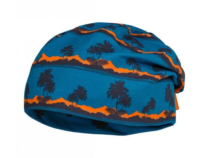 Dětská čepice tenká beanie kluk holka jaro léto podzim tmavá modrá svítivě oranžová UV filtr 50 Maximo 13500-055400