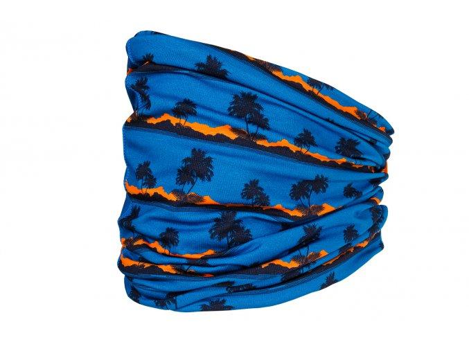 Dětský multifunkční šátek  tunel čepice maska kukla tenká čepice UV filtr 50 modrý svítivě oranžový kluk holka Maximo 13600 055600 79