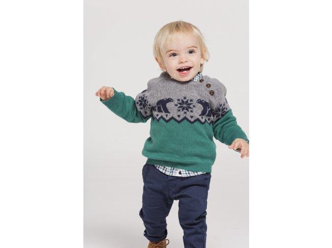 Chlapecký pletený svetr s mozaikou polárního medvěda. Barvy zelená, modrá, bílá