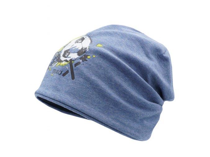 Oboustranná dětská čepice beanie tenká bavlna modrá UV filter 50 fotbal holka kluk Maximo 13500 087476 63