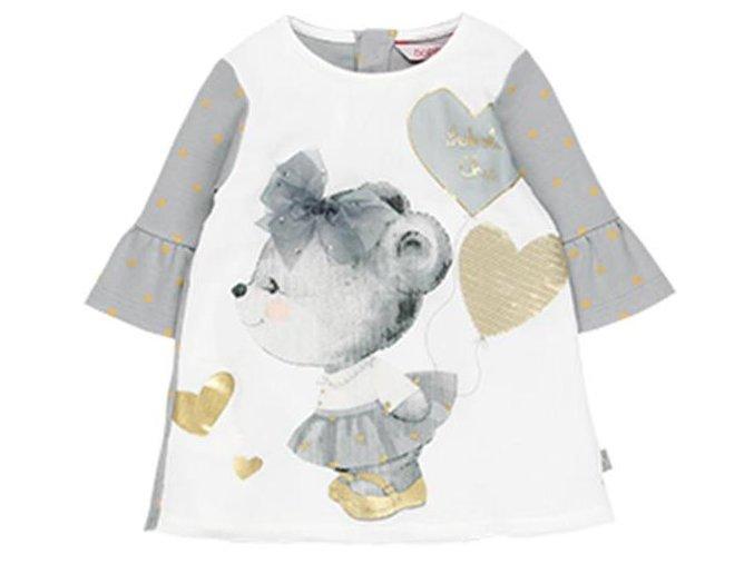 <p>Krátké dívčí šaty se tříčtvrtečními rukávy zakončené volánky pro královnu slavností.</p>
