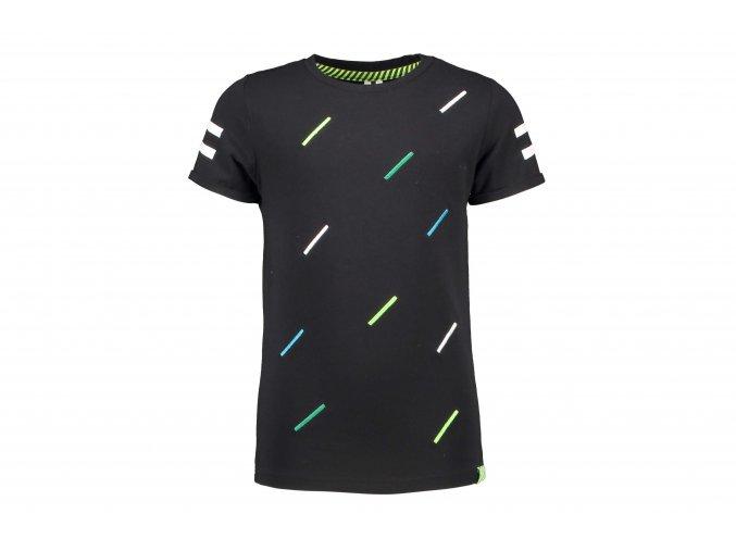Chlapecké tričko černé s neon čárkamaY103 6424 099