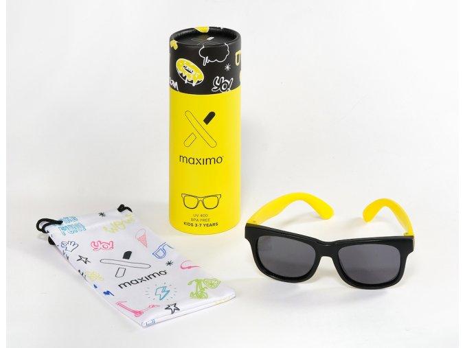 Dětské sluneční brýle černé svítivě žluté kluk i holka Maximo brýle s UV filtrem a polarizačními skly hranaté Justin classic 13303 963700 0036