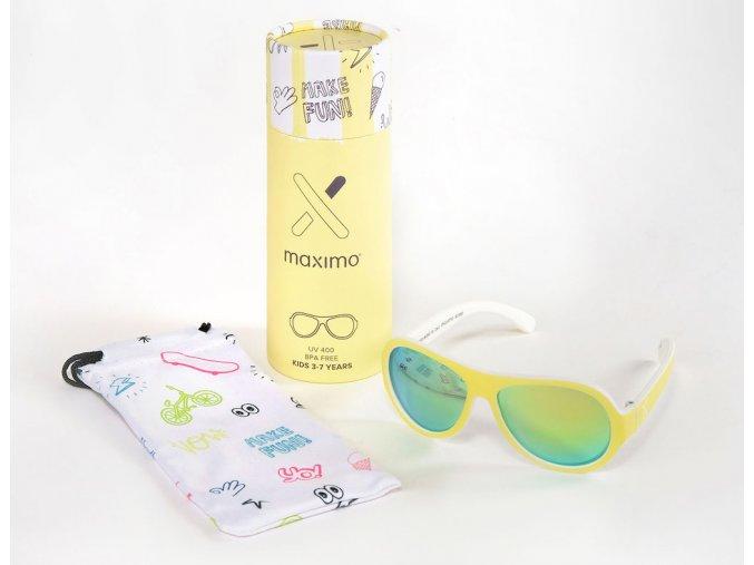 Dětské sluneční brýle světlé žluté holčička i kluk Maximo brýle s UV filtrem a polarizačními skly kulaté letecké brýle pro děti Aviator 13303 963800 0058