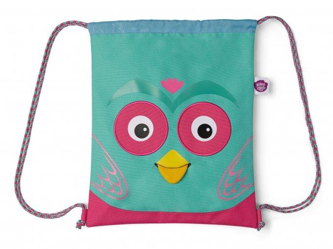 Dětský sáček se stahováním lehký batůžek pro holčičku sovička růžový tyrkys AFZ GYM 002 006 Affenzahn