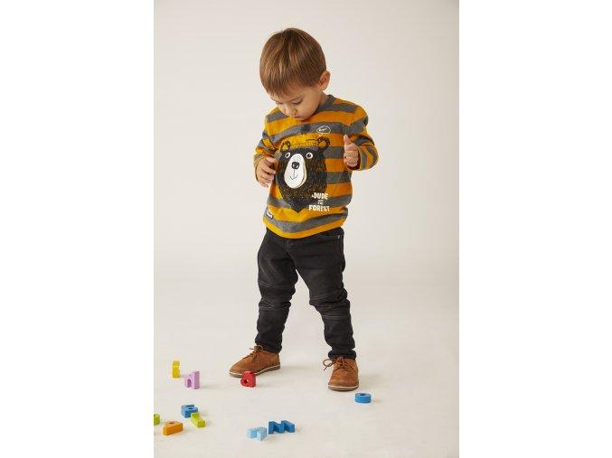 Boboli set pro chlapečka tričko s dlouhým rukávem pruhované hravé tričko s medvědem šedé hořčice žluté 3203M b