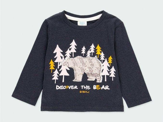 Modré tričko s medvědem a flitry
