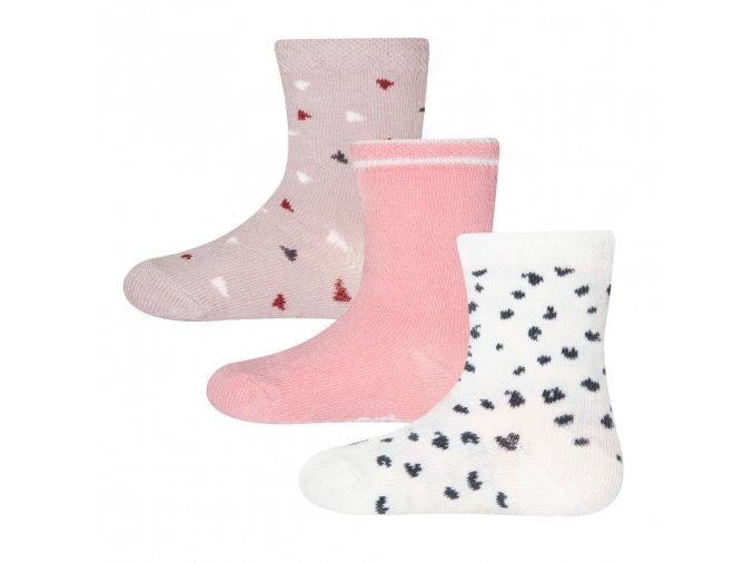 Barevné ponožky pro holčičku růžové lila bílé dalmatin 3v1 Ewers 205213 0001