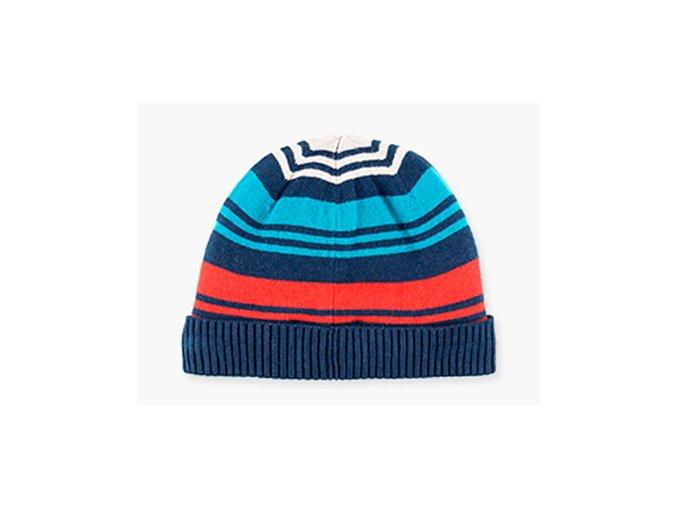 Klučičí pletená čepice tikolóra pruhovaná Boboli kluk modrá