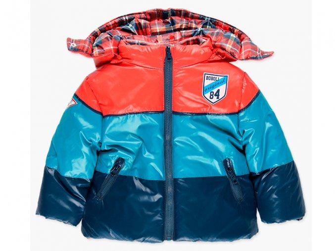 Dětská zimní bunda Skotská kostka kluk Boboli modrá červená