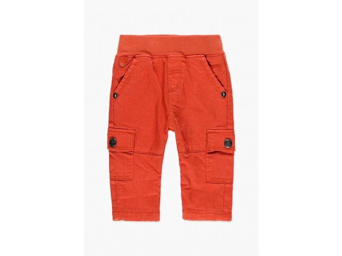 Klučičí zimní kalhoty teplé oranžové kapsáče na gumu kluk Boboli