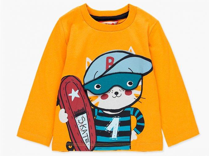 Chlapecké tričko s dlouhým rukávem a 3D doplňkem odklápěcích brýlí a kocoura skejťáka s prknem.