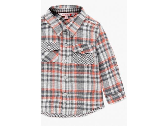 Klučičí košile dlouhý rukáv kostkovaná šedá jíllová Boboli kluk atypická