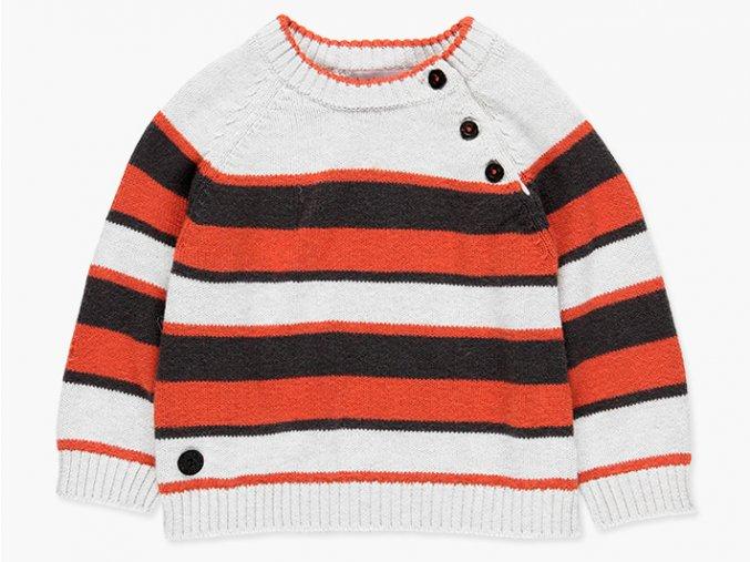 <p>Dětský svetr z jemného pružného úpletu, hebounký na dotek, v kombinaci barevných pruhů antracitově šedé, cihlově červené a světle šedé. Atypické zapínání u krku na 3 knoflíky.</p>