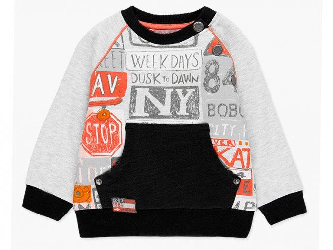 Klučičí mikina světlá šedá černá oranžová skate mikina bez kapuce s klokánkem Boboli kluk a