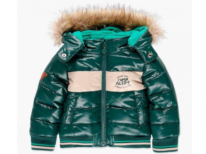 Klučičí zimní bunda zelená s kapucí s kožíškem kluk Boboli