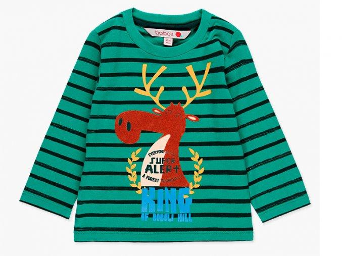 Dětské zelenomodře pruhované tričko s dlouhým rukávem a 3D plyšovým akčním losem, velmi hladivým!