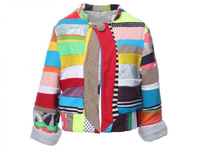 Barevná dětská bunda Cris patchwork pestrobarevná Barcelona art a