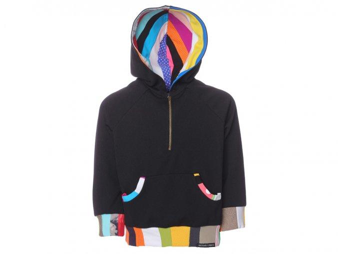 černá dětská mikina sportovní patchwork art design Barcelona a