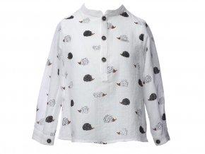 <p>Bavlněná dětská košile s potiskem ježka a zapínáním u krku na tři zdobné knoflíčky a nabíráním v zádech. Unisex.</p>