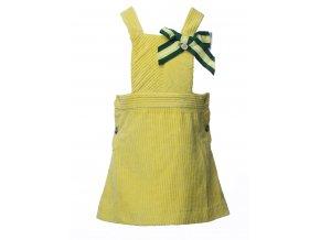 Dětská laclová sukně z jemného žlutého manšestru a s ozdobnou mašličkou.