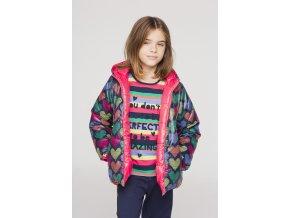 Holčičí zimní bunda oboustranná srdíčka barevná růžová holka Boboli