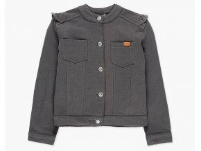 Holčičí přechodová bunda s volánkama šedá tmavá džínska s volánky Boboli