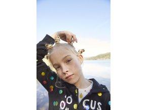 Černá mikina na zip s kapucí duhové puntíky holka BoboliBoboli